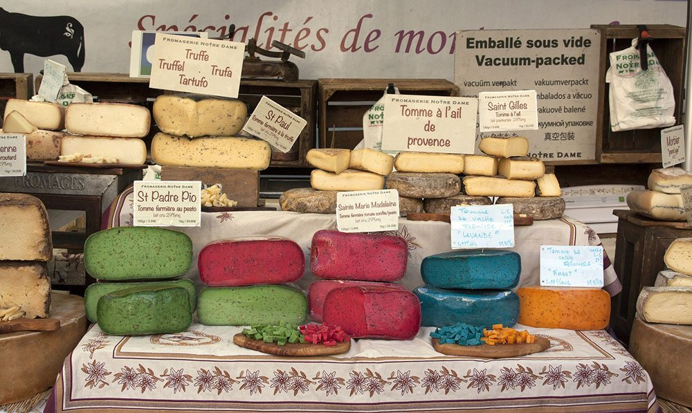 bedoin,france-june 3 2015: colorful french cheese at the market in Arles