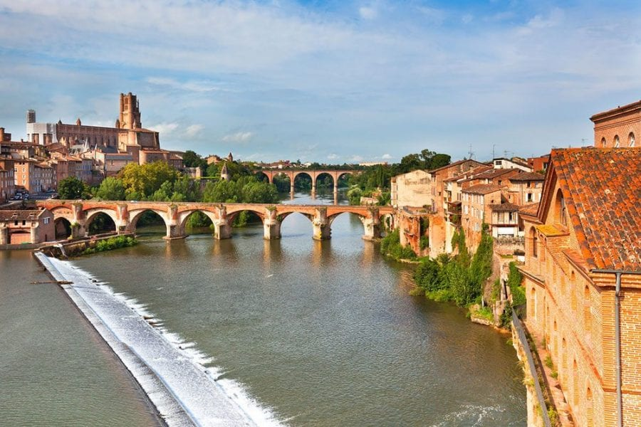 View of the August bridge and The Saint Cecile church in Albi France. Horizontal shot